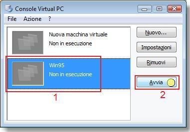 Installare Win95 su Virtual PC